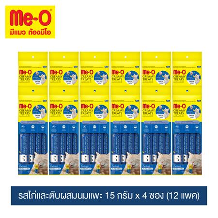 มีโอ ครีมมี่ ทรีต รสไก่-ตับผสมนมแพะ ชนาด 15 กรัม x 4 ซอง(12แพ็ค) / Me-O Cat Creamy Treats Chicken & Liver with Goat Milk Flavor 15g.x4x12