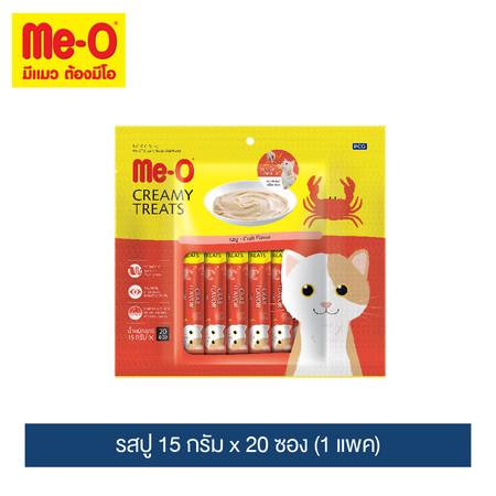 มีโอ ครีมมี่ ทรีต รสปู 15 กรัม x 20 ซอง (1 แพค) / Me-O Cat Creamy Treats Crab Flavor 15g. X 20 sachets (1 pack)