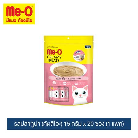 มีโอ ครีมมี่ ทรีต รสคัตสึโอะ 15 กรัม x 20 ซอง (1 แพค) / Me-O Cat Creamy Treats Katsuo Flavor 15g. X 20 sachets (1 pack)