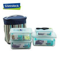 Glasslock ชุดกล่องอาหารแก้ว 4 ใบ พร้อมถุงผ้าเก็บอุณหภูมิ + อุปกรณ์ถอดยางซิลิโคน รุ่น Mini Set-F