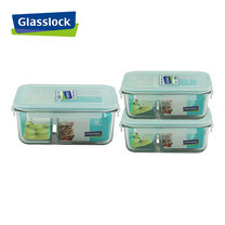 Glasslock ชุดกล่องอาหารแก้ว 3 ใบ ทรงผืนผ้ามีช่องแบ่ง รุ่น MCRK-6710-3P