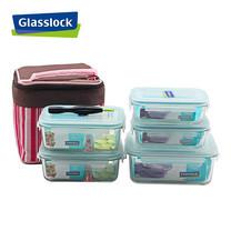 Glasslock ชุดกล่องอาหารแก้ว 5 ใบ พร้อมถุงผ้าเก็บอุณหภูมิ + อุปกรณ์ถอดยางซิลิโคน รุ่น Mini Set-E