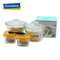 Glasslock ชุดกล่องอาหารแก้ว 4 ใบ พร้อมอุปกรณ์ถอดยางซิลิโคน รุ่น Mini Set-H