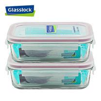 Glasslock ชุดกล่องอาหารแก้ว 2 ใบ ทรงผืนผ้า รุ่น MCRB-040-2P