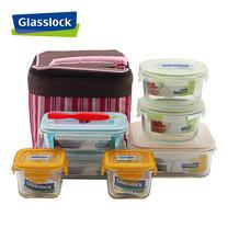 Glasslock ชุดกล่องอาหารแก้ว 7 ใบ พร้อมถุงผ้าเก็บอุณหภูมิ + อุปกรณ์ถอดยางซิลิโคน รุ่น Mini Set-C