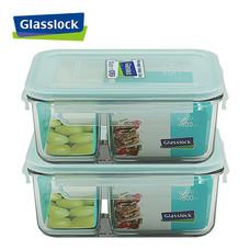 Glasslock ชุดกล่องอาหารแก้ว 2 ใบ ทรงผืนผ้ามีช่องแบ่ง รุ่น MCRK-100-2P