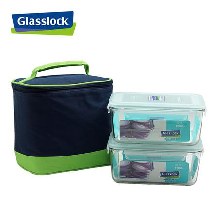 Glasslock ชุดกล่องอาหารแก้ว 2 ใบ พร้อมถุงผ้าเก็บอุณหภูมิ รุ่น MCRB-190-2C