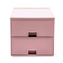 UDEE กล่องลิ้นชัก ABS 2 ชั้น- สีชมพูพลาสเทล