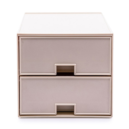 UDEE กล่องลิ้นชัก ABS 2 ชั้น- สีครีมพลาสเทล