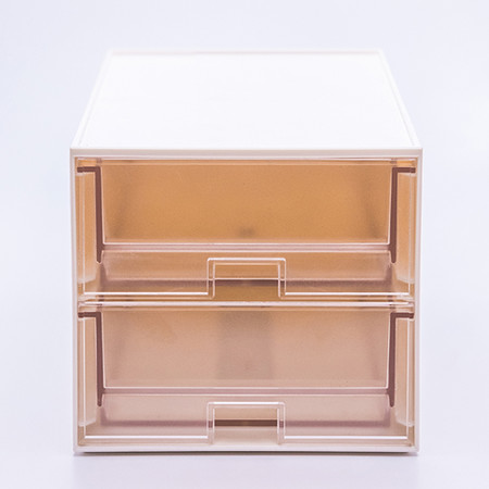 UDEE กล่องลิ้นชักรุ่น 2 ชั้น - สีขาว (ลิ้นชักใส)