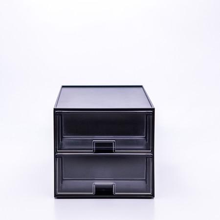 UDEE กล่องลิ้นชักรุ่น 2 ชั้น - สีดำ (ลิ้นชักใส)