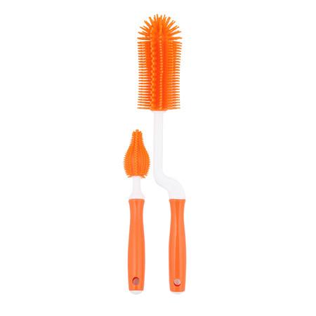 แปรงล้างขวดนมซิลิโคน แบบเซ็ตด้ามหมุน สีส้ม - Mathos Loreley