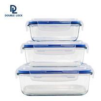 Double Lock ชุดกล่องแก้วถนอมอาหาร 6 ชิ้น รวมฝา (3 กล่อง) รุ่น 31939 ความจุ 1250/750/450 มล.