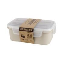 Double Lock กล่องใส่อาหาร Lunch Box รุ่น 1239 พร้อมช้อนส้อม สีเบจ