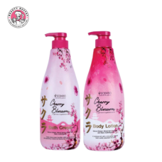 (แพ็คคู่) SCENTIO CHERRY BLOSSOM LIGHTENING&SMOOTH BODY LOTION & BATH CREAM (700ML.)