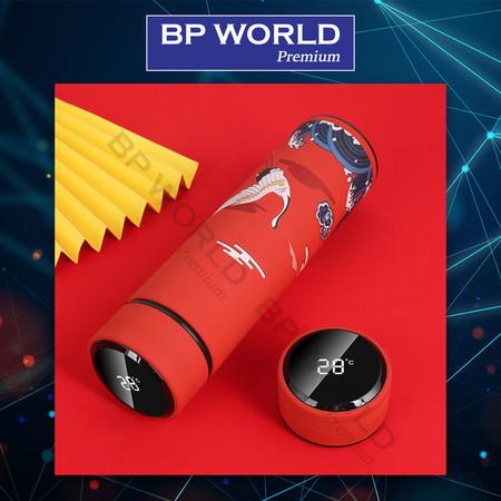 ขวดน้ำสแตนเลสอัจฉริยะฉนวนสุญญากาศ แบบ Digital 400 ML รุ่น PM0001 สีแดง