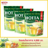 HOTTA น้ำขิงฮอทต้า พลัส เครื่องดื่มสมุนไพรขิงผงผสมใยอาหาร 4,000 มก. ขนาด 10 ซอง x 3 ถุง