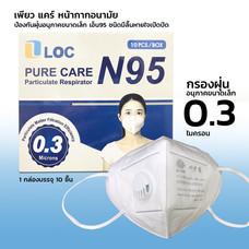 LOC หน้ากาก N95 หน้ากากอนามัยกรองฝุ่น 0.3 ไมครอน( ราคา 1กล่อง 10 ชิ้น)