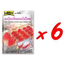 LOBO โลโบ ผงวุ้นอะการ์กลิ่นดอกไม้ไทย ขนาด 115 กรัม (แพ็ค 6 ซอง)