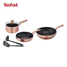 TEFAL ชุดหม้อกระทะ 6 ชิ้น รุ่น Cook & Shine - Pink Gold