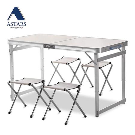 ASTARS โต๊ะพับอเนกประสงค์ รุ่น Square พร้อมเก้าอี้ 4 ตัว - สีเทา