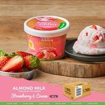 สตรอเบอร์รี ไอศกรีม ( STRAWBERRY ICE CREAM ) ไอศกรีมจากนมอัลมอนด์ ตราแฮปปี้แอดดี้ (Happy Addey) ขนาด 80 g