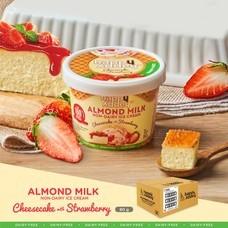 ชีสเค้กสตรอเบอร์รี ไอศกรีม ( CHEESECAKE STRAWBERRY ICE CREAM ) ไอศกรีมจากนมอัลมอนด์ ตราแฮปปี้แอดดี้ (Happy Addey) ขนาด 80 g