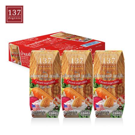 137ดีกรี Almond Milk with Carrot and Mixed Vegetables (นมอัลมอนด์ สูตรแครอทและผักรวม) ขนาด180 มล. 1 ลัง มี 36 กล่อง