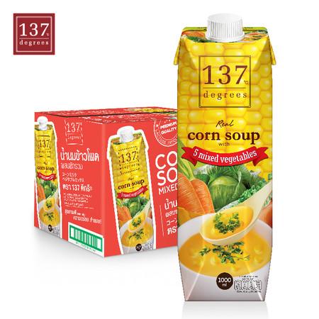 137ดีกรี Corn Soup (นมข้าวโพด สูตรซุปผสมผักรวม) ขนาด 1000 มล. 1 ลัง มี 12 กล่อง