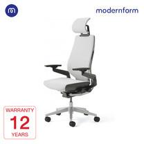 Modernform เก้าอี้ Steelcase ergonomic รุ่น Gesture พนักพิงสูง แบบWrap โครงเงิน หุ้มผ้าสีเทาอ่อน เก้าอี้เพื่อสุขภาพ