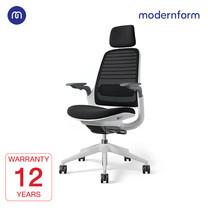 Modernform เก้าอี้ Steelcase ergonomic รุ่น Series1 พนักพิงสูงเฟรมสีขาว เบาะสีดำ พนักพิงสีดำ เก้าอี้เพื่อสุขภาพ