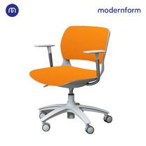 Modernform เก้าอี้เอนกประสงค์ รุ่น B-One (S01) พนักกลาง พลาสติก เฟรมขาว ขาไนลอน เบาะผ้าสีส้ม