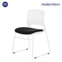 Modernform เก้าอี้สัมมนา เก้าอี้อเนกประสงค์ รุ่น ESN ขาU สีขาว เฟรมพลาสติกสีขาว เบาะหุ้มผ้าสีดำ