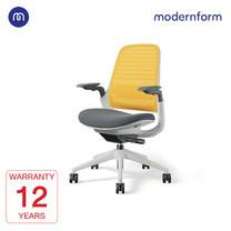 Modernform เก้าอี้ Steelcase ergonomic รุ่น Series1 พนักพิงกลาง สีเหลือง หุ้มด้วยผ้าตาข่ายไมโครนิต เก้าอี้เพื่อสุขภาพ