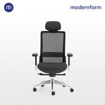 Modernform เก้าอี้สำนักงาน รุ่น Series15S เก้าอี้+ที่พิงศีรษะ แขนปรับได้ ขาอลูมิเนียม เบาะผ้าดำ พนักตาข่ายดำ