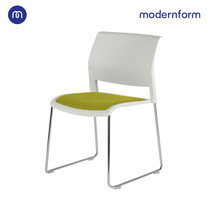Modernform เก้าอี้เอนกประสงค์ รุ่น ADI เก้าอี้พลาสติก ขาโครเมี่ยม พนักสีขาว เบาะหุ้มผ้าเขียว