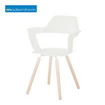 Modernform เก้าอี้อเนกประสงค์พลาสติกลายไม้ รุ่น MUSE - สีขาว