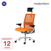 Modernform เก้าอี้ Steelcase ergonomic รุ่น Think v2 Platinum พนักพิงสูง สีส้ม ปรันเอนได้  4 ระดับ เก้าอี้เพื่อสุขภาพ