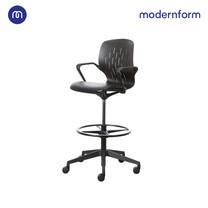 Modernform เก้าอี้อเนกประสงค์ รุ่น S CHAIR พนักพิงสูง เบาะหนังเทียมดำ ขาดำ