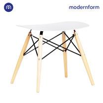 Modernform เก้าอี้อเนกประสงค์ เก้าอี้สัมมนา พลาสติกขาไม้ สีขาว รุ่น PW027