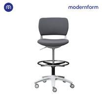 Modernform เก้าอี้เอนกประสงค์ รุ่น B-One (S02) พลาสติก เฟรมขาว เบาะผ้าเทา ที่เหยียบวงกลมดำ(ตัวสูง)