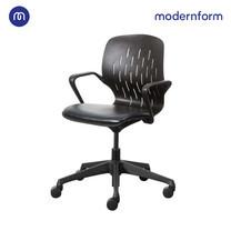 Modernform เก้าอี้อเนกประสงค์ รุ่น S CHAIR พนักพิงกลาง เบาะหนังเทียมดำ ขาดำ