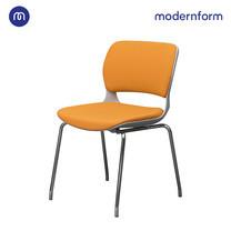 Modernform เก้าอี้เอกนประสงค์ รุ่น B-One (04) พนักพิงกลาง พลาสติก เฟรมขาว ขาโครเมี่ยม เบาะผ้าสีส้ม