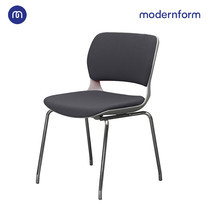 Modernform เก้าอี้เอกนประสงค์ รุ่น B-One (04) พนักพิงกลาง พลาสติก เฟรมขาว ขาโครเมี่ยม เบาะผ้าสีเทา