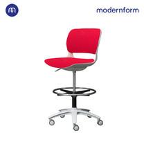 Modernform เก้าอี้เอนกประสงค์ รุ่น B-One (S02) พลาสติก เฟรมขาว เบาะผ้าสีเเดง ที่เหยียบวงกลมดำ (ตัวสูง)