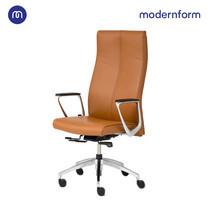 Modernform เก้าอี้ผู้บริหาร รุ่น Series12 หุ้มหนังแท้ สีน้ำตาล ระบบโยกเอน Synchronize mechanism