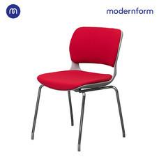 Modernform เก้าอี้เอกนประสงค์ รุ่น B-One (04) พนักพิงกลาง พลาสติก เฟรมขาว ขาโครเมี่ยม เบาะผ้าสีแดง