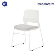 Modernform เก้าอี้สัมมนา เก้าอี้อเนกประสงค์ รุ่น  ESN ขาU สีขาว เฟรมพลาสติกสีขาว เบาะหุ้มผ้าสีเทา