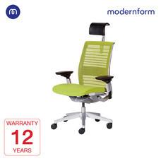 Modernform เก้าอี้ Steelcase ergonomic รุ่น Think v2 Platinum พนักพิงสูง สีเขียว ปรันเอนได้  4 ระดับ เก้าอี้เพื่อสุขภาพ