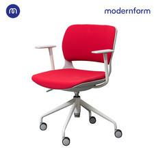 Modernform เก้าอี้เอนกประสงค์ รุ่น B-One (S3) พาสติก เฟรมขาว ขาเหล็กพาวเดอร์โค้ท เบาะผ้าเเดง